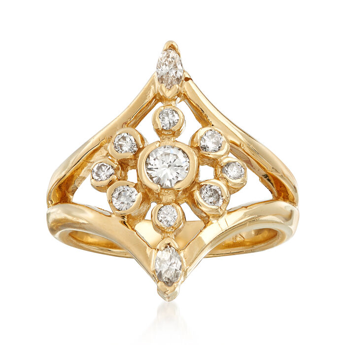 C. 1980 Vintage .65 ct. t.w. Diamond Cluster Ring in 14kt Yellow Gold. Size 7
