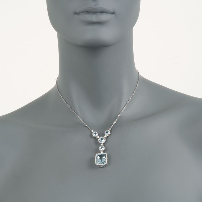 "13.25 ct. t.w. Aquamarine and .71 ct. t.w. Diamond Pendant Necklace in 18kt White Gold. 16"", , default"