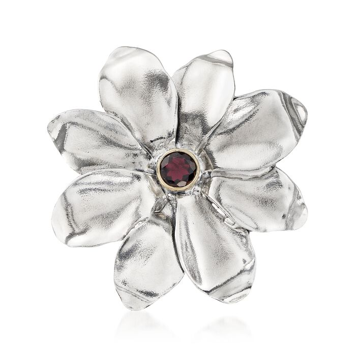 2.00 Carat Garnet Flower Pin with 14kt Yellow Gold in Sterling Silver, , default