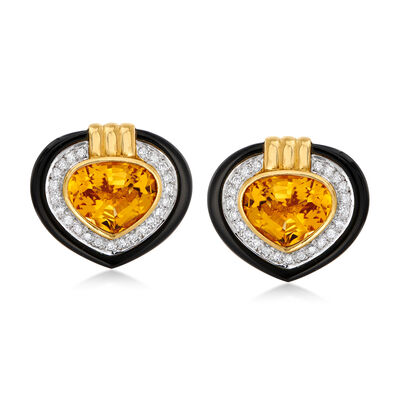 C. 1980 Vintage 8.50 ct. t.w. Citrine, .65 ct. t.w. Diamond and Black Onyx Heart Earrings in 18kt Yellow Gold, , default
