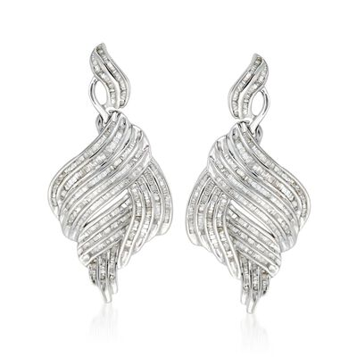 2.00 ct. t.w. Diamond Multi-Row Swirl Drop Earrings in Sterling Silver, , default