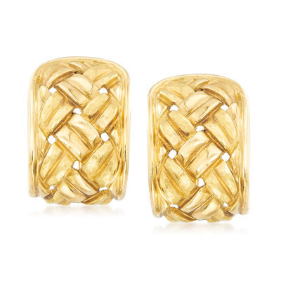 C. 1980 Vintage 18kt Yellow Gold Basketweave Earrings, , default