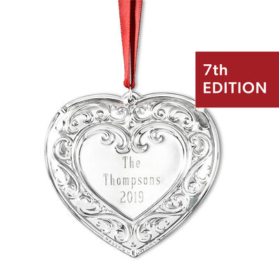 Wallace 2019 Annual Personalized Sterling Silver Heart Ornament - 7th Edition, , default