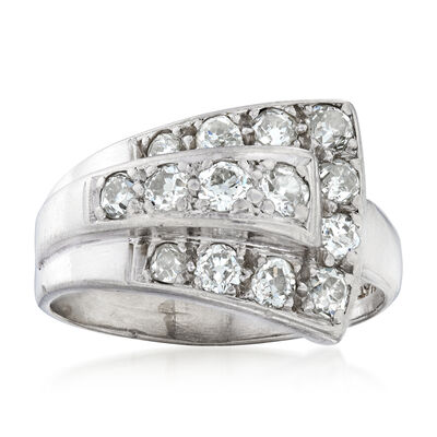 C. 1940 Vintage 1.05 ct. t.w. Diamond Buckle Ring in Platinum, , default
