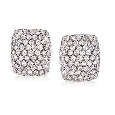 C. 1990 Vintage 4.00 ct. t.w. Pave Diamond Earrings in 14kt White Gold