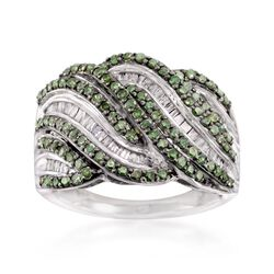 1.00 ct. t.w. Green and White Diamond Wave Ring in Sterling Silver, , default