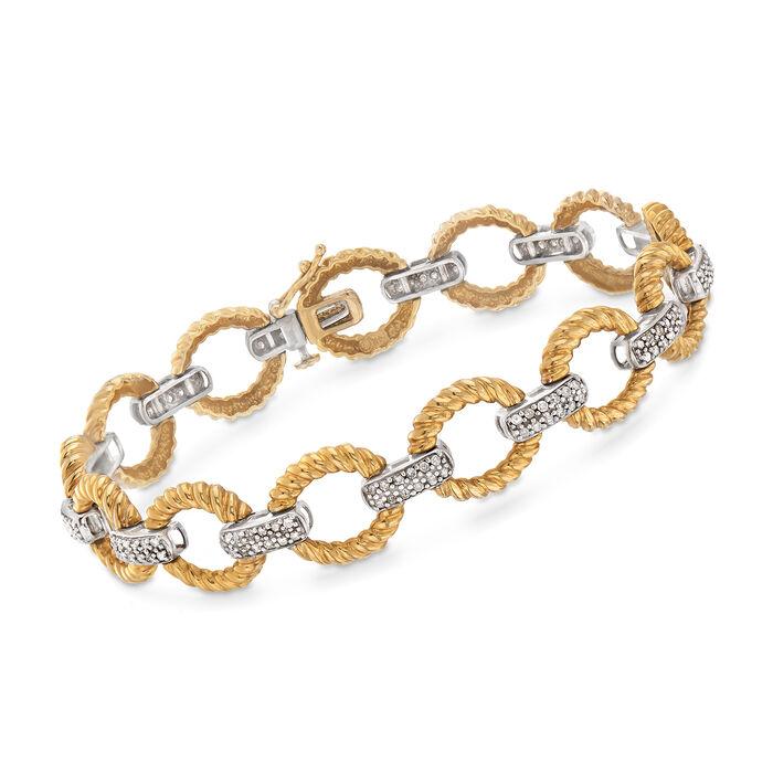 "C. 1980 Vintage 1.25 ct. t.w. Diamond Link Bracelet in 14kt Two-Tone Gold. 8"", , default"