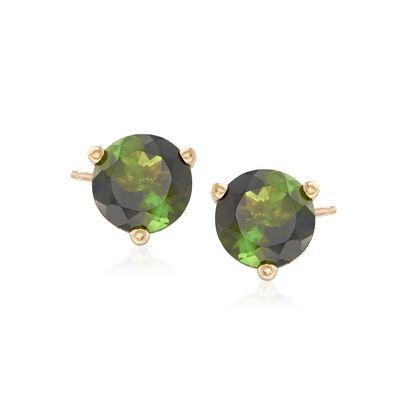 1.70 ct. t.w. Green Tourmaline Stud Earrings in 14kt Yellow Gold, , default
