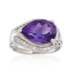 4.20 Carat Amethyst and .30 ct. t.w. White Topaz Ring in Sterling Silver, , default