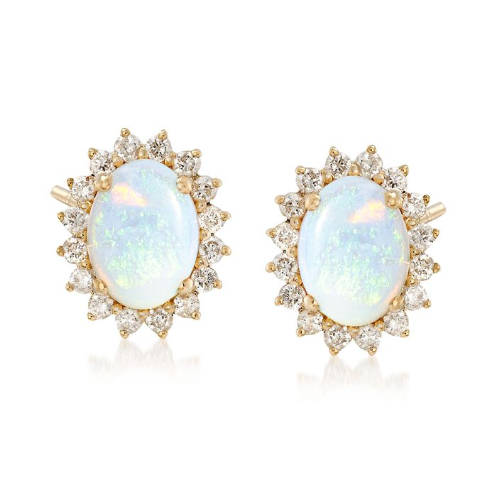 Opal and .40 ct. t.w. Diamond Earrings in 14kt Yellow Gold, , default