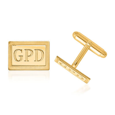 14kt Yellow Gold Laser Recessed Letters Rectangle Monogram Cuff Links, , default