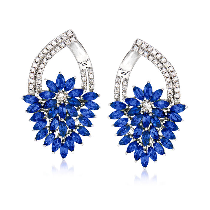 5.00 ct. t.w. Sapphire and .65 ct. t.w. Diamond Floral Drop Earrings in 14kt White Gold, , default