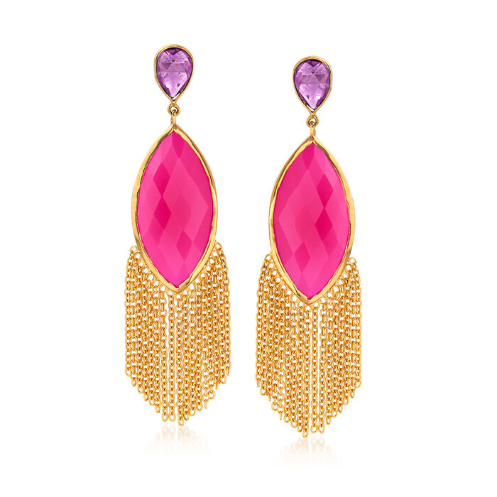 15x30mm Pink Agate and 3.60 ct. t.w. Amethyst Tassel Drop Earrings in 18kt Gold Over Sterling, , default