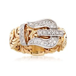 .23 ct. t.w. Diamond and 14kt Yellow Gold Byzantine Buckle Ring, , default