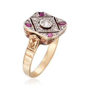 C. 1930 Vintage .33 ct. t.w. Diamond and .30 ct. t.w. Synthetic Ruby Ring in 18kt Yellow Gold. Size 7.25, , default