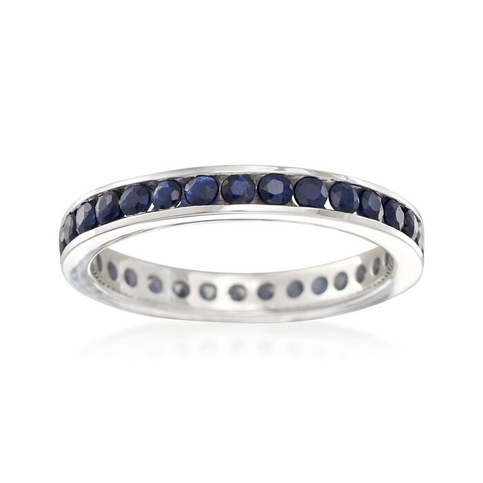 1.30 ct. t.w. Sapphire Eternity Band in Sterling Silver, , default