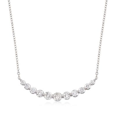 1.00 ct. t.w. Graduated Diamond Necklace in 14kt White Gold, , default