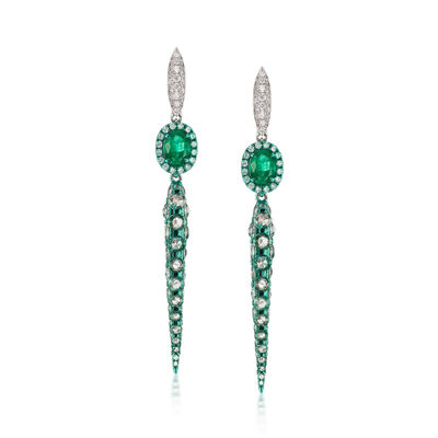 5.25 ct. t.w. Diamond and 1.70 ct. t.w. Emerald Green Rhodium Drop Earrings in 18kt White