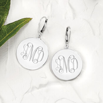 Italian Sterling Silver Monogram Disc Drop Earrings, , default