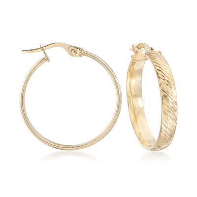 Italian 18kt Yellow Gold Diamond-Cut Hoop Earrings, , default