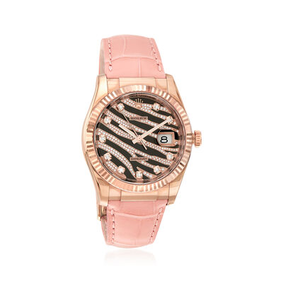 Pre-Owned Rolex Datejust Men's 36mm Automatic 18kt Rose Gold Watch with Pink Leather, , default