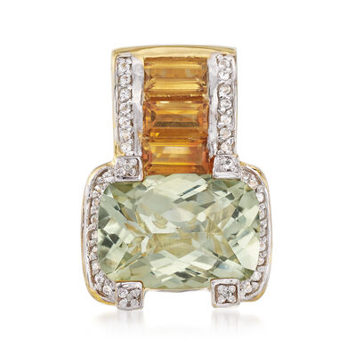 6.00 Carat Green Prasiolite and 1.60 ct. t.w. Citrine Pendant with White Zircons in 18kt Gold Over Sterling, , default