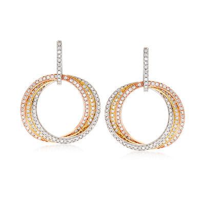 2.25 ct. t.w. Diamond Interlocking-Circle Drop Earrings in 14kt Tri-Colored Gold