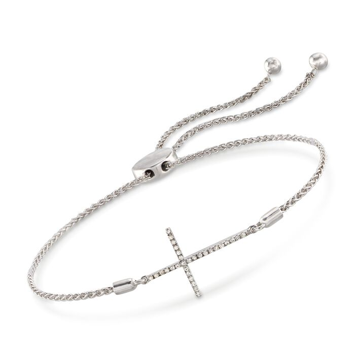 .10 ct. t.w. Diamond Sideways Cross Bolo Bracelet in Sterling Silver, , default
