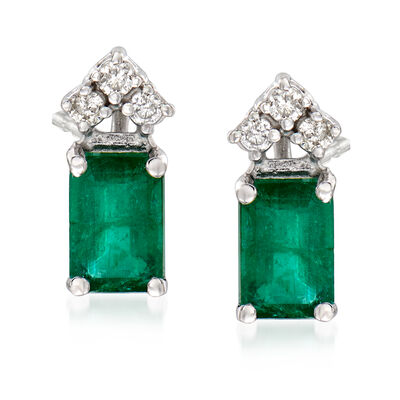 1.00 ct. t.w. Emerald and .10 ct. t.w. Diamond Stud Earrings in 14kt White Gold, , default