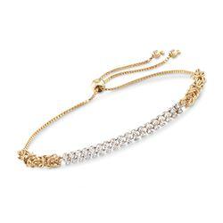 .70 ct. t.w. CZ Two-Row Byzantine Bolo Bracelet in 14kt Yellow Gold, , default