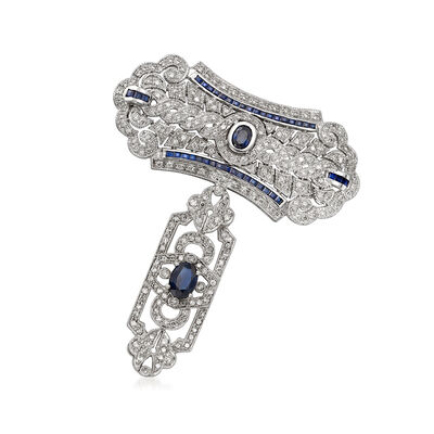 C. 1980 Vintage 2.80 ct. t.w. Sapphire and 2.25 ct. t.w. Diamond Filigree T-Shaped Pin in 18kt White Gold