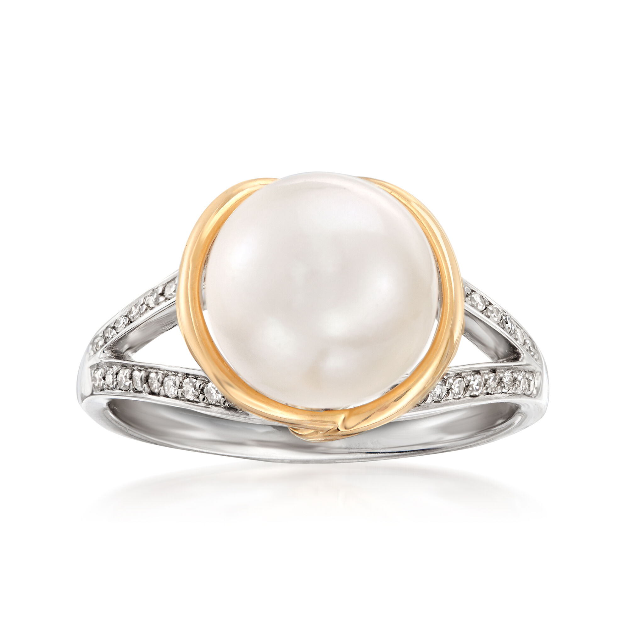 Sterling Silver with 14k 9.5-10mm Freshwater Cultured Pearl Ring