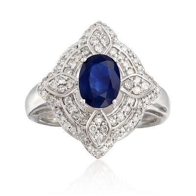 1.50 Carat Sapphire and .48 ct. t.w. Diamond Ring in 14kt White Gold