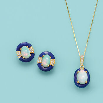"""Opal and Lapis Pendant Necklace in 14kt Yellow Gold with Diamond Accents. 18"""", , default"""