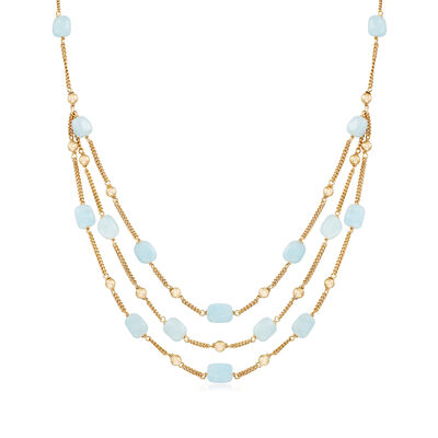 50.00 ct. t.w. Aquamarine Bead Necklace in 18kt Gold Over Sterling