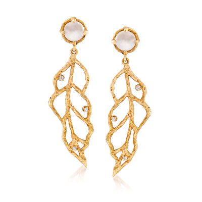 C. 2000 Vintage Moonstone Leaf Drop Earrings with Diamond Accents in 18kt Yellow Gold, , default