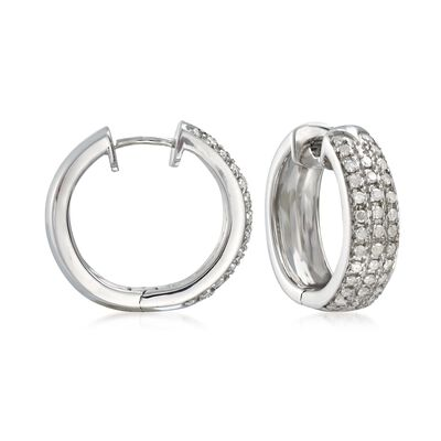 .50 ct. t.w. Diamond Hoop Earrings in Sterling Silver, , default