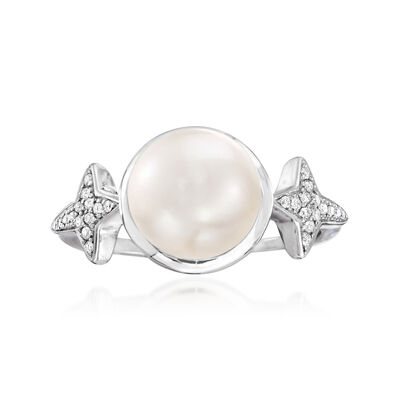 9-9.5mm Cultured Pearl and .10 ct. t.w. Diamond Ross-Simons Signature Star Ring in Sterling Silver, , default