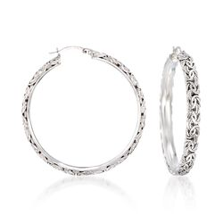 "Sterling Silver Extra Large Byzantine Hoop Earrings. 1 7/8"", , default"