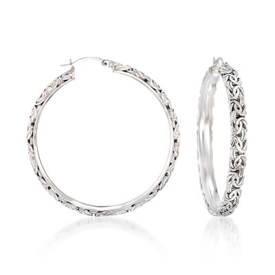 Sterling Silver Extra Large Byzantine Hoop Earrings, , default