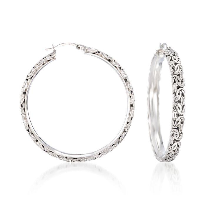 "Sterling Silver Extra Large Byzantine Hoop Earrings. 1 7/8"", , default"