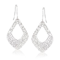 Italian Sterling Silver Openwork Drop Earrings, , default