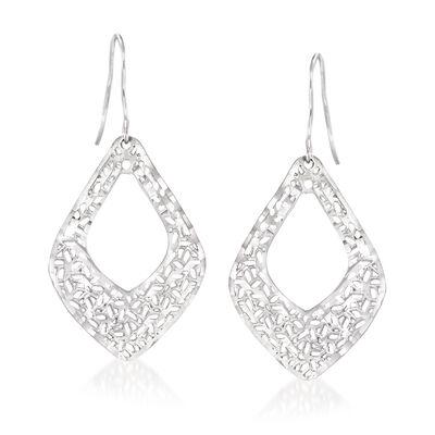 Italian Sterling Silver Openwork Drop Earrings, , default