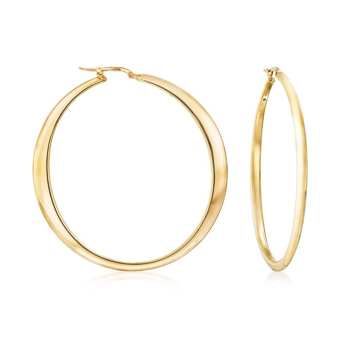 "Italian 18kt Yellow Gold Large Hoop Earrings. 2 3/8"", , default"