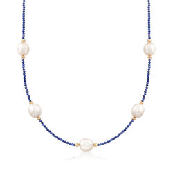 Lapis and 10-10.5mm Cultured Pearl Bead Necklace in 14kt Yellow Gold, , default