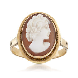 C. 1950 Vintage Carved Shell Cameo Ring in 10kt Yellow Gold, , default