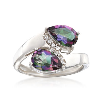 3.10 ct. t.w. Multicolored Topaz Bypass Ring with .10 ct. t.w. White Topaz in Sterling Silver