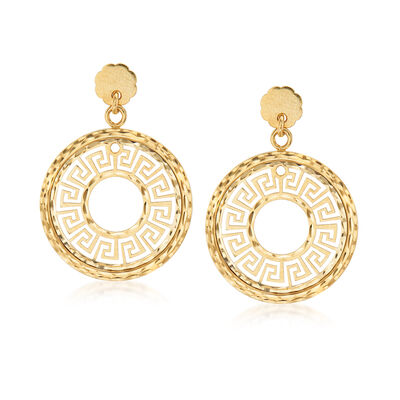 14kt Yellow Gold Greek Key Circle Drop Earrings, , default