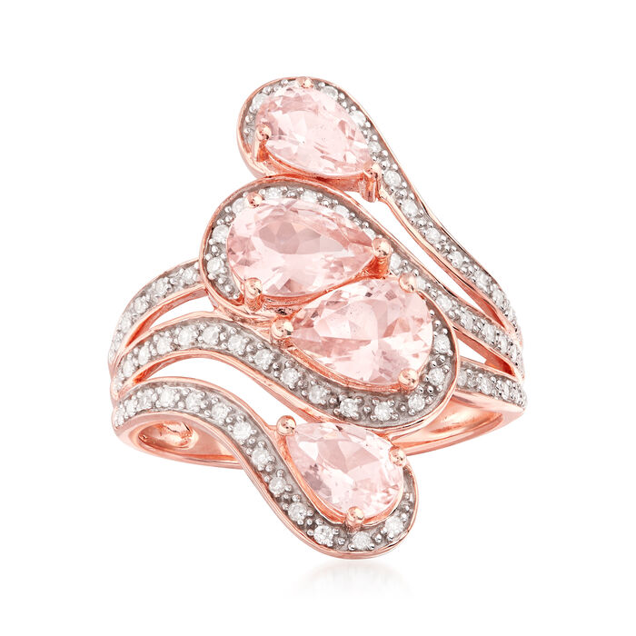 1.90 ct. t.w. Morganite and .20 ct. t.w. Diamond Swirl Ring in 18kt Rose Gold Over Sterling. Size 6