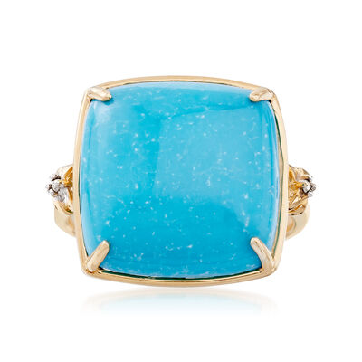 Stabilized Turquoise Ring in 14kt Yellow Gold, , default